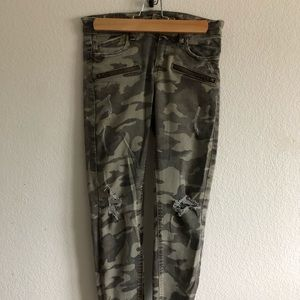 Zara army printed denim pant